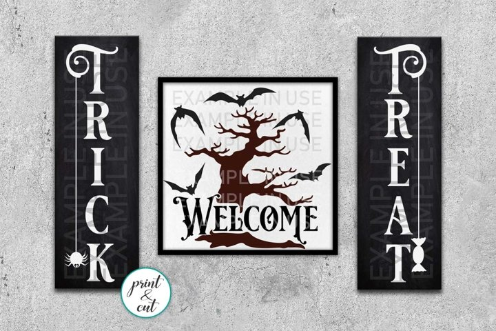 Trick or treat Welcome Halloween Halloween farmhouse sign