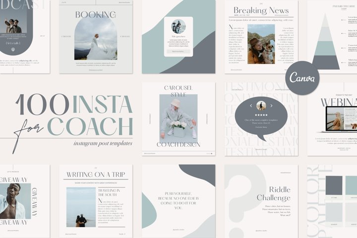 100 Instagram Creator Template for Coaches - Made in Canva