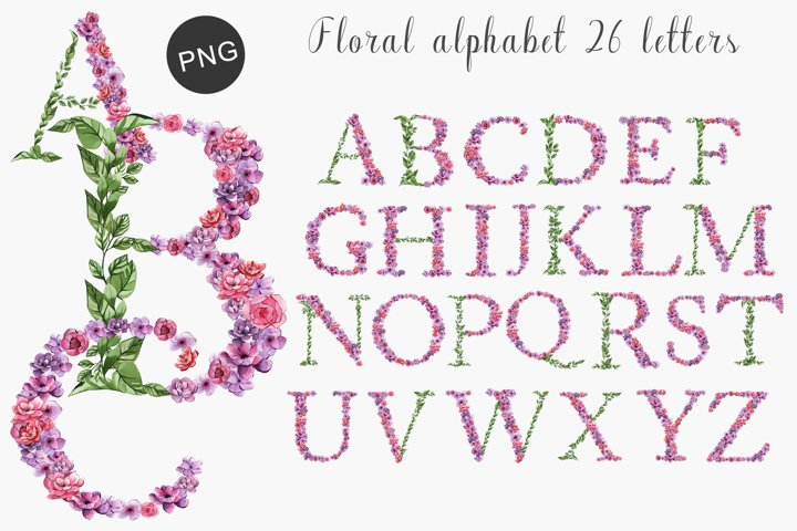 Watercolor flower alphabet PNG