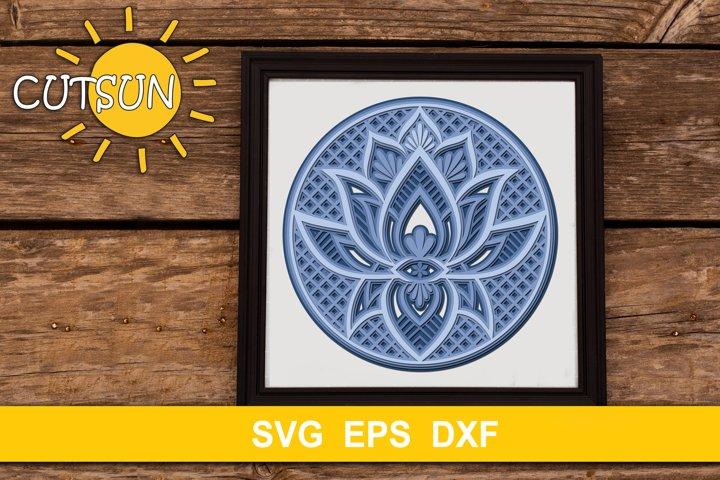 3D Layered Mandala Lotus SVG 4 layers
