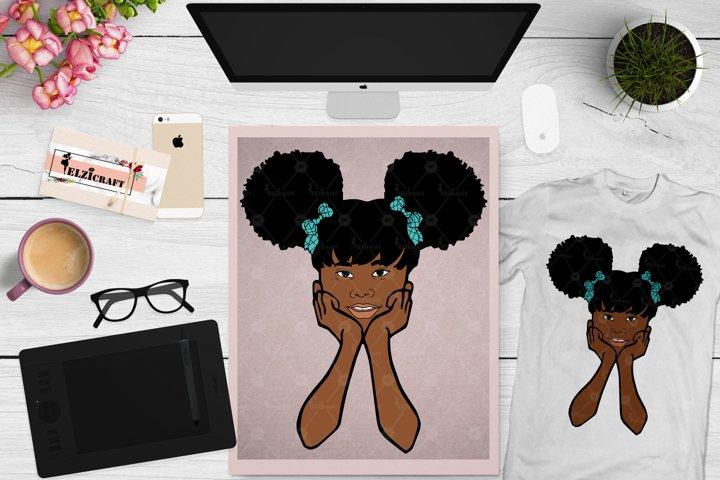 Cute Afro Peeking Girl, Melanin Poppin, Ribbons SVG Cut File