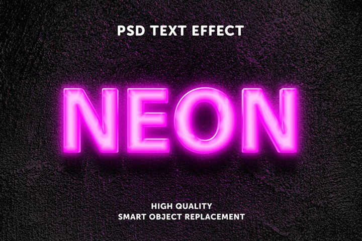 Realistic neon glow text effect