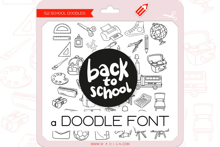 Back to School Doodles - Dingbats Font