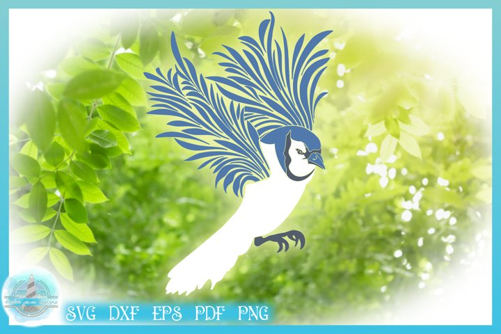 Bluejay Flying Mandala Zentangle SVG PDF EPS PNG files