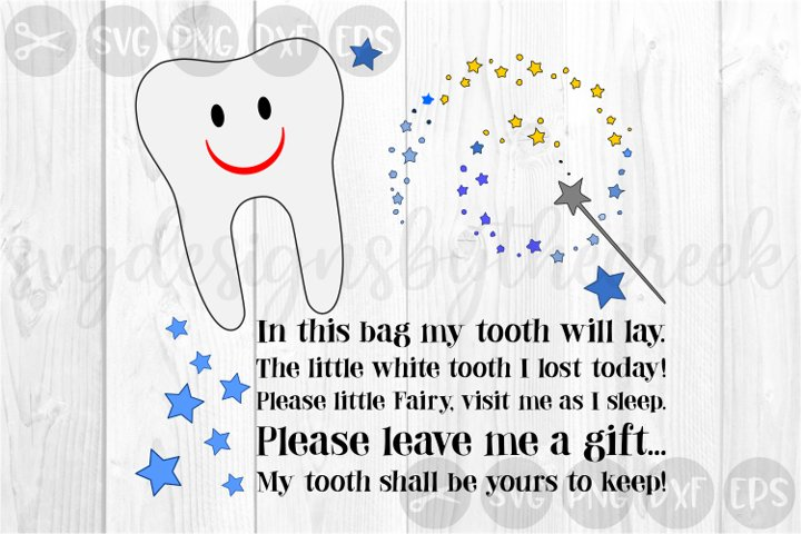 Tooth Fairy Bag, Lost Tooth, Stars, Cut File, SVG