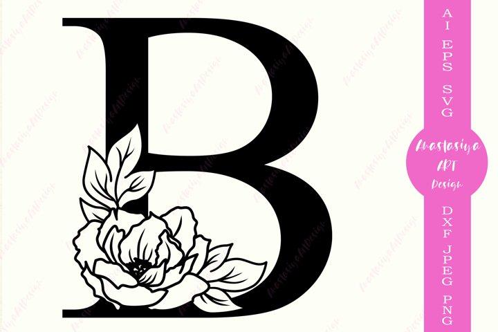 Floral monogram alphabet svg, Botanical letter B, Wedding