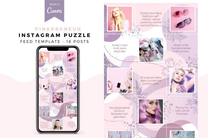 Pinkpreneur, Instagram Puzzle Template, Party Biz, Canva