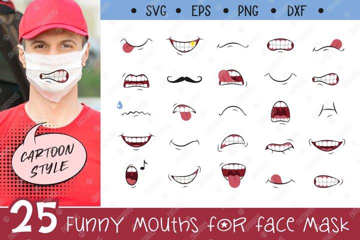 SVG Bundle. 25 Funny mouths for Medical Face Mask.