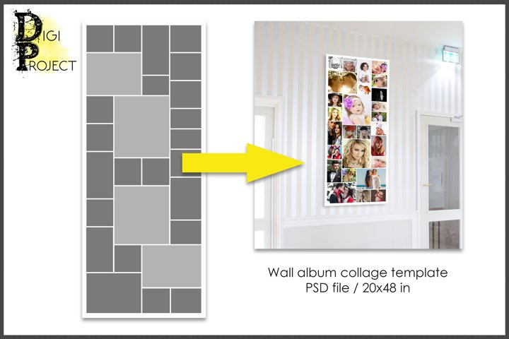 Collage template, album on a wall, psd Photoshop template