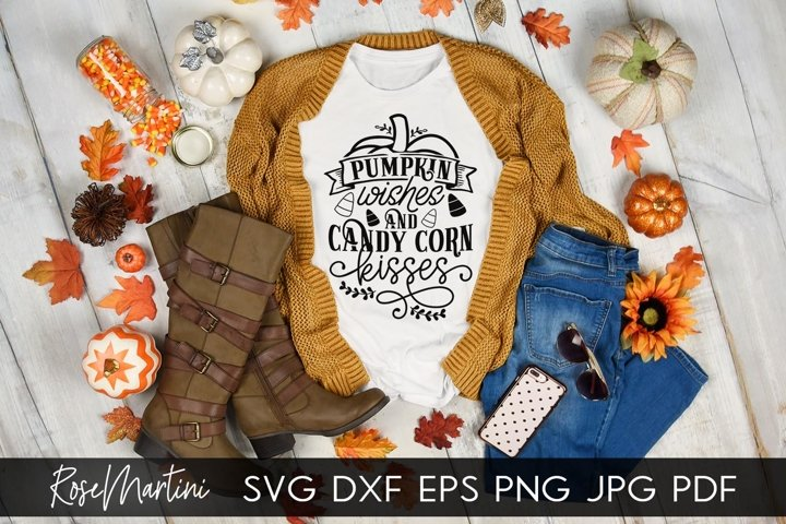 Pumpkin Wishes And Candy Corn Kisses SVG Autumn Halloween