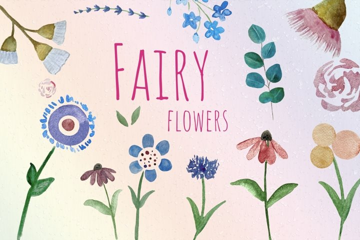 Watercolor Fairy Flowers Clipart