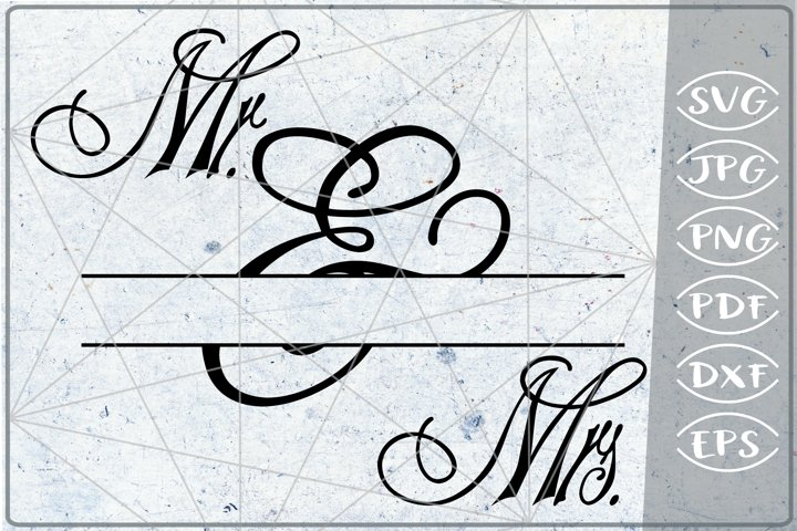 Mr. & Mrs. Split Monogram Frame Crafters Wedding SVG File