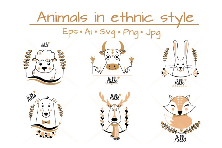 Cute animals in ethnic style
