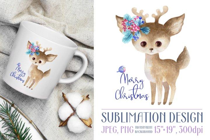 Cute watercolor deer. Sublimation design