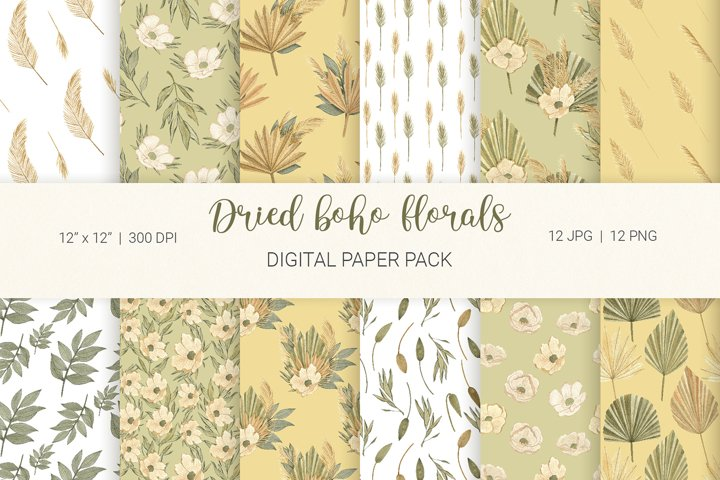 Dried boho florals and palm leaves digital paper pack