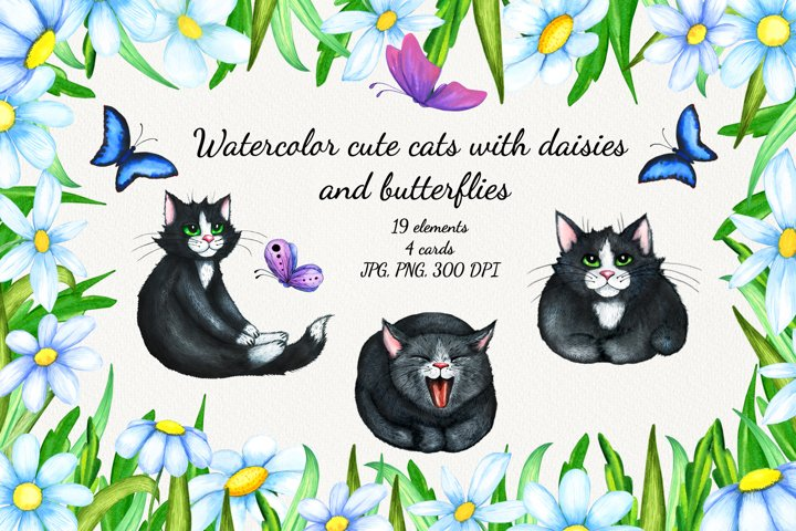 Watercolor cute cats with daisies and butterflies.