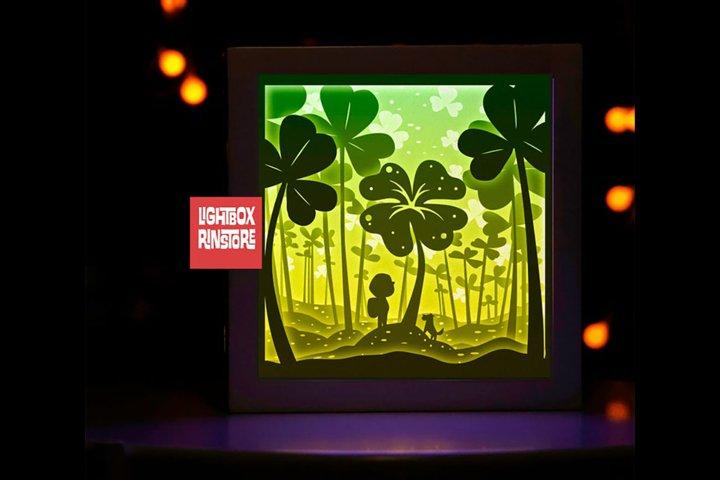 #60 Lucky clover, 3D Shadow box paper cut light box