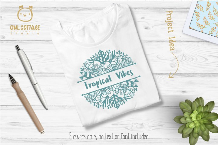 Tropical Border SVG, Luau Decor SVG File, Wedding Flowers example 6