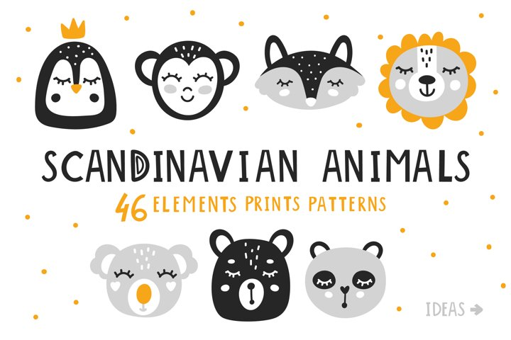 Baby Scandinavian animals Clipart Bundle for nursery q
