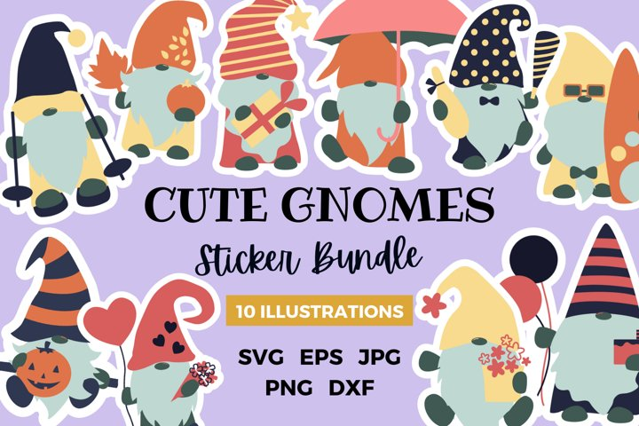 Cute Gnomes Sticker Bundle   Celebration Gnomes Sticker