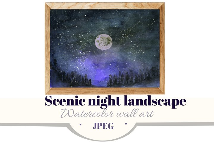 Scenic night landscape. Forest & starry sky. watercolor