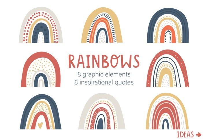 Scandinavian Rainbows Clip art Bundle with inspirational quo