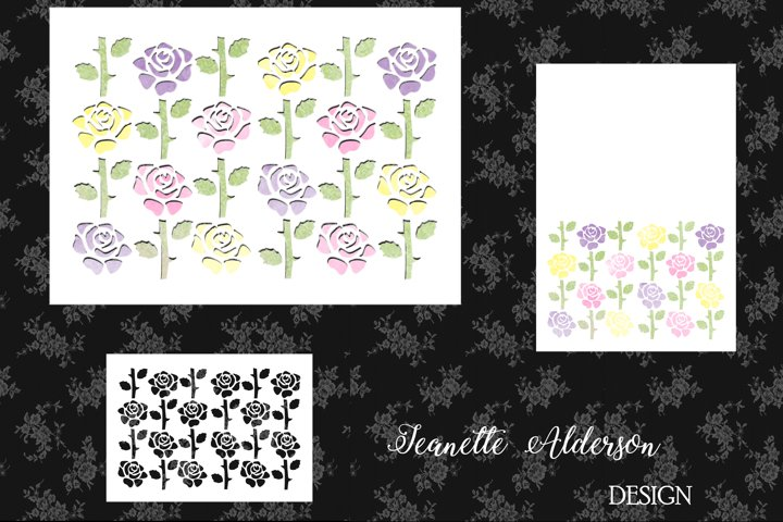 White Multi Coloured Rose card with matching Cutout Mat