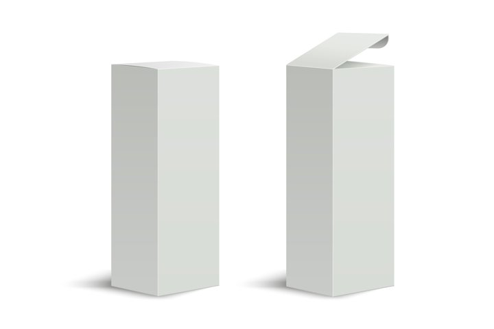 Tall box. High white cardboard box with a closed and open li