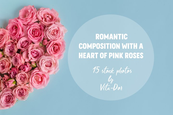 Romantic composition with a heart of pink roses