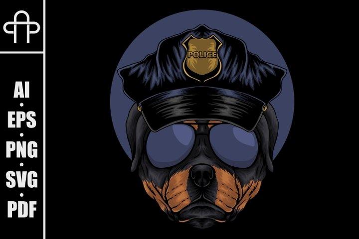 Rottweiler police vector illustration