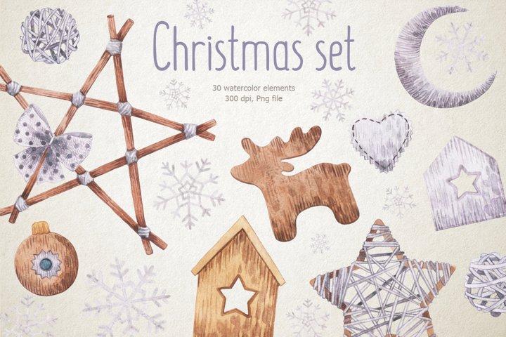 Watercolor Christmas ornaments clipart