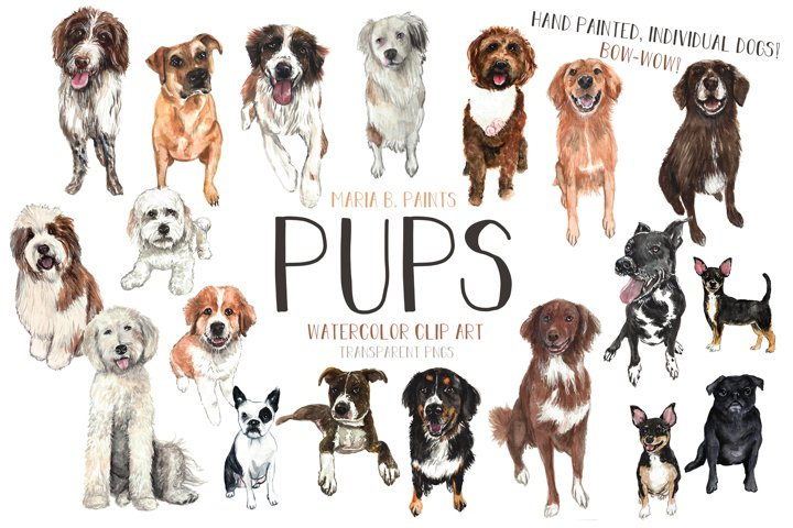Puppy Dogs Watercolor Clipart Set Puppies Breeds