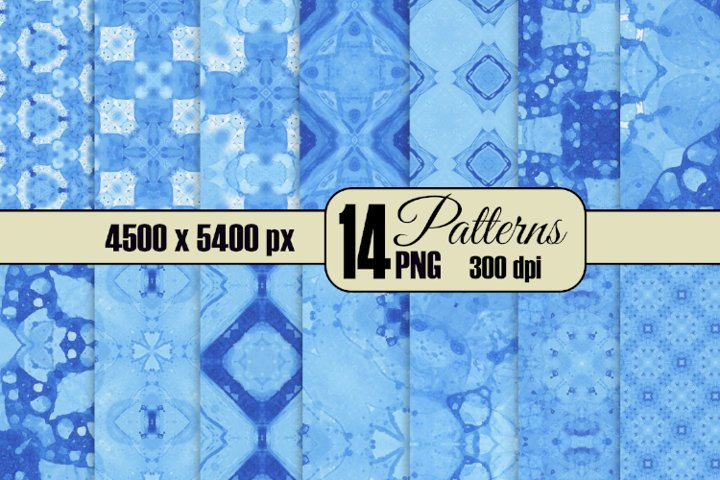 14 Seamless Ocean Blue Watercolor Patterns