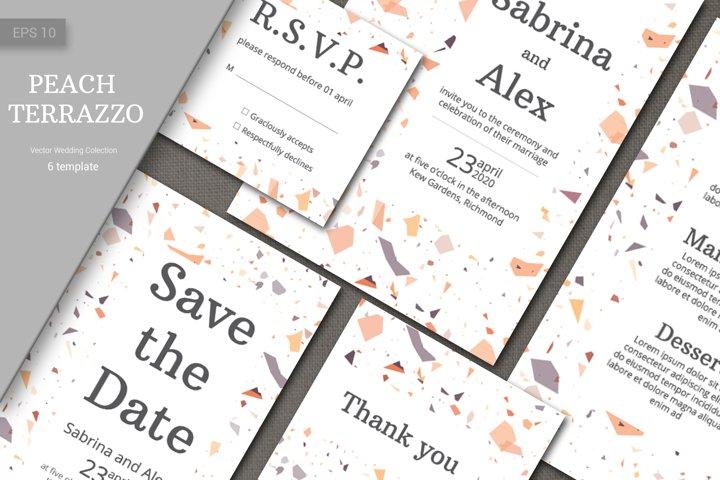 Wedding invitation suite. Peach Terrazzo Pattern