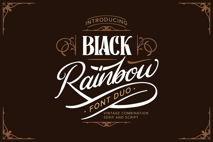 Black Rainbow | Font Duo Vintage Serif and Script