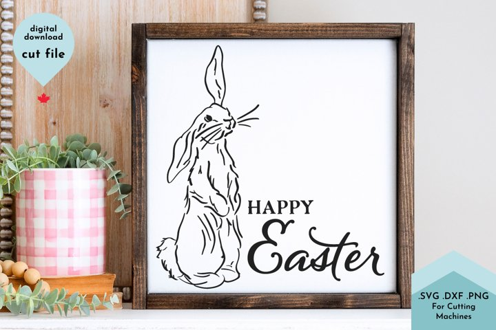 Happy Easter svg, Bunny illustration example