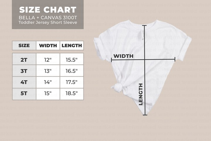 Bella Canvas 3000T Size Chart, Mockup Size Chart