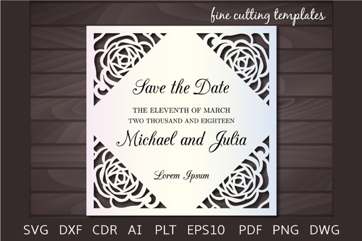 Roses Wedding Invitation SVG cutting template laser cut card