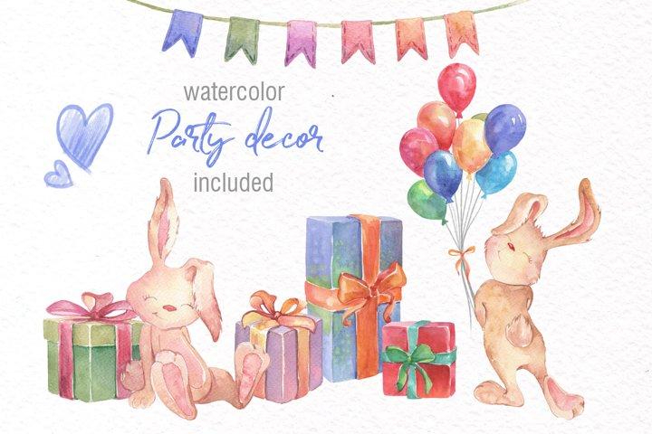 Watercolor Bunny Clipart example 1