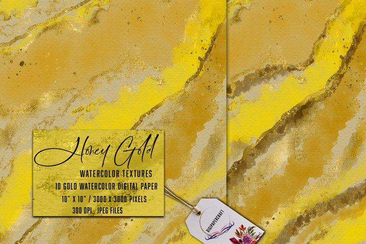Honey Gold Watercolor, ink & watercolor paper, Gold splats