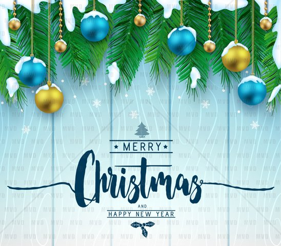 Christmas Decorative Greeting Poster in Blue Wooden Background