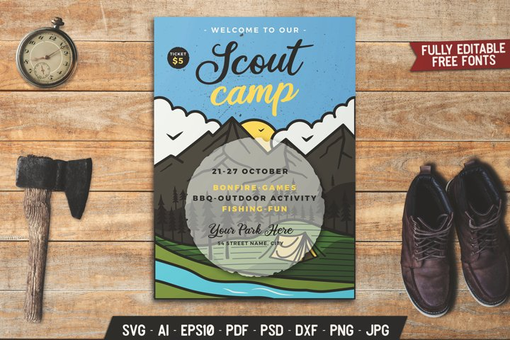 Scout SVG Flyer Template Vintage Adventure Poster DXF PNG
