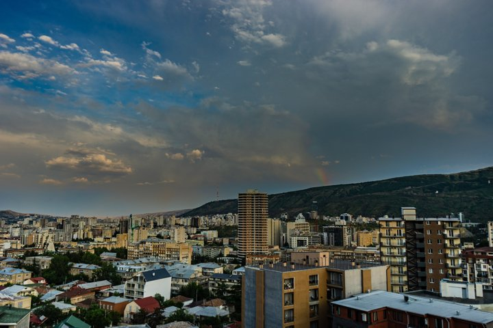 Evening over Tbilisis downtown after the rain
