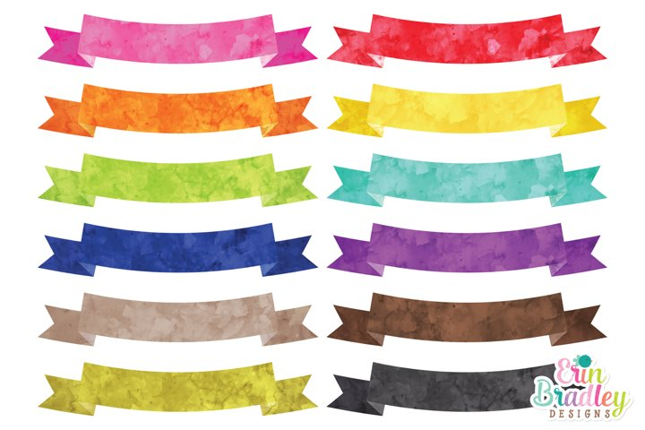 Watercolor Text Banner Clipart