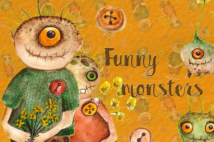 Watercolor illustration  Funny monsters