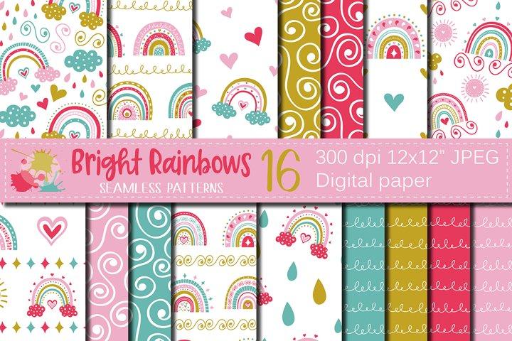 Cute bright rainbows digital paper / seamless patterns
