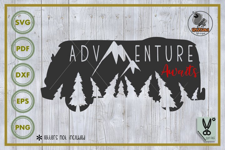 Adventure SVG, ADVENTURE AWAITS, van silhouette, cut file