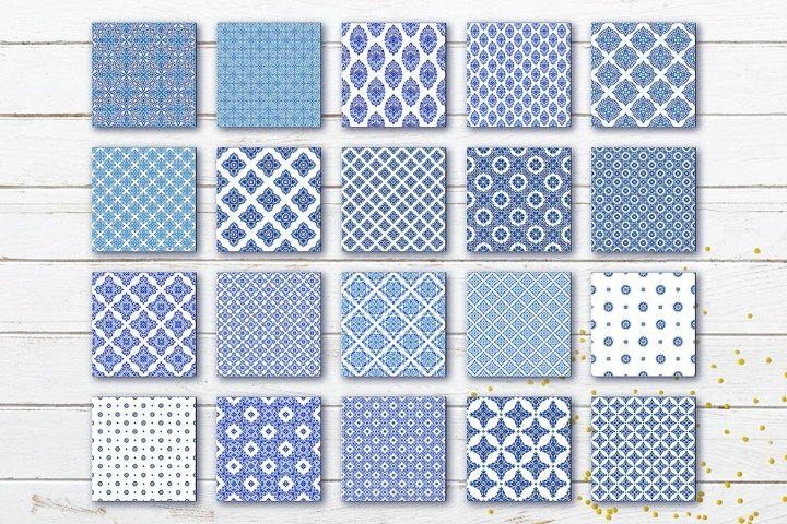 Digital paper of watercolor blue and white seamless tiles example 6
