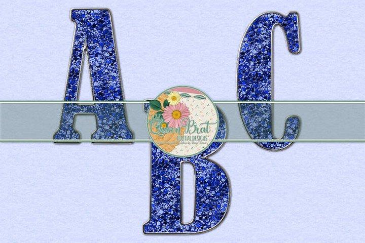 Freedom Alphabet Blue Glitter