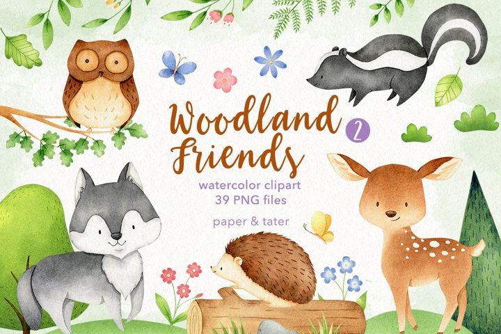 Watercolor Woodland Animals 2 Clipart Graphics
